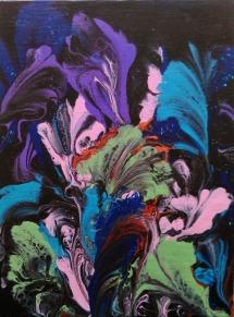 6x8 canvas panel #53 acrylic string art on black dry 1-17-2018