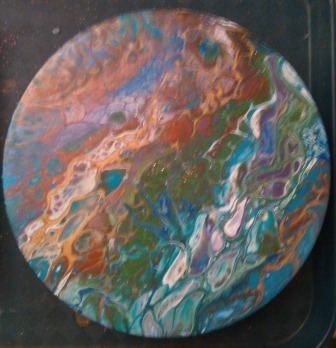 8 inch #40 metal burner cover Acrylic enamel dirty pour 2 2017